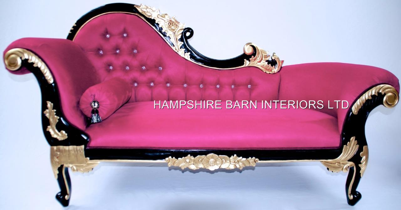 Chaise longue fuchsia pink black gold crystals ornate for Black and silver chaise longue