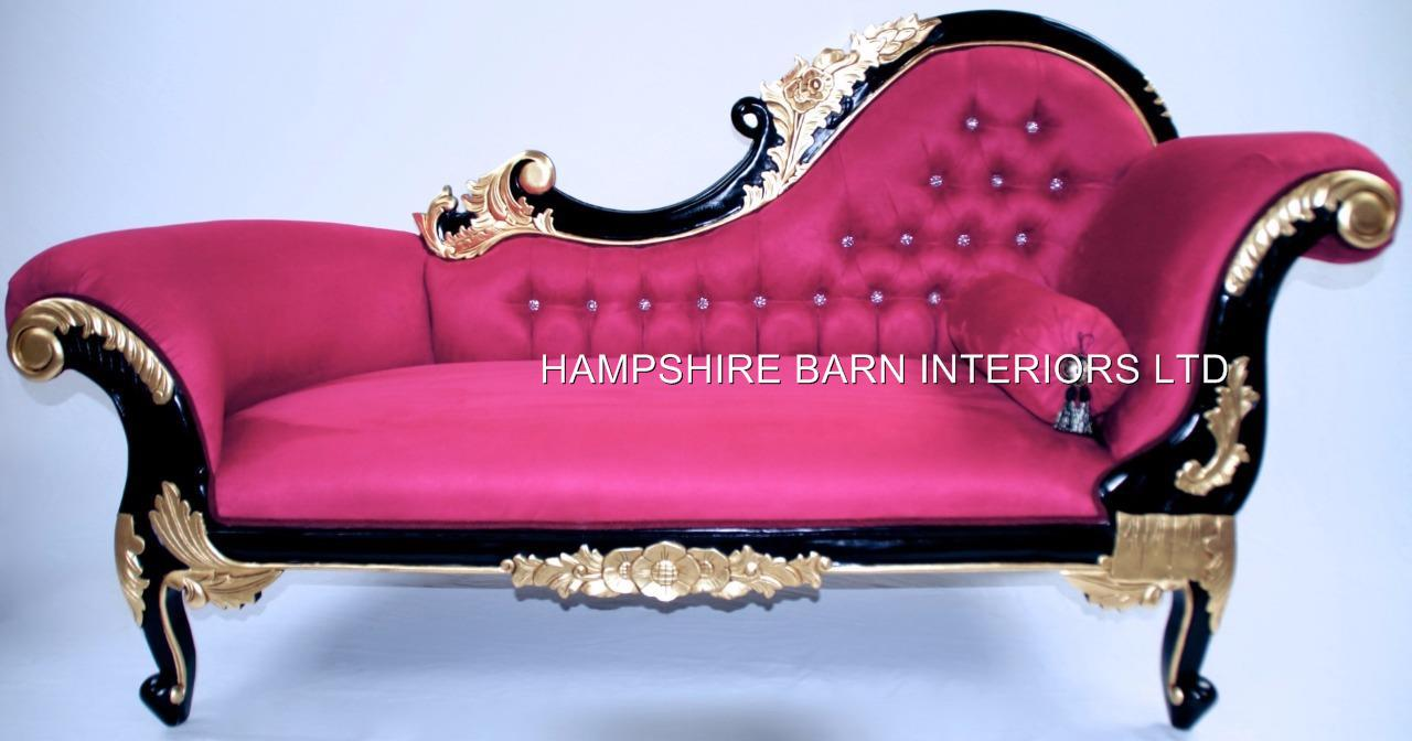 CHAISE LONGUE FUCHSIA PINK BLACK Amp GOLD CRYSTALS
