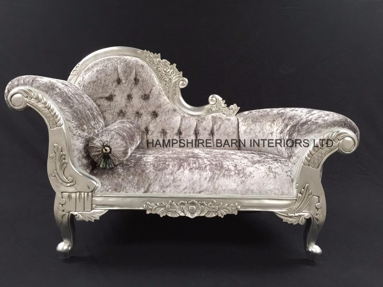 Small french chaise longue silver leaf mercury grey for Black and silver chaise longue