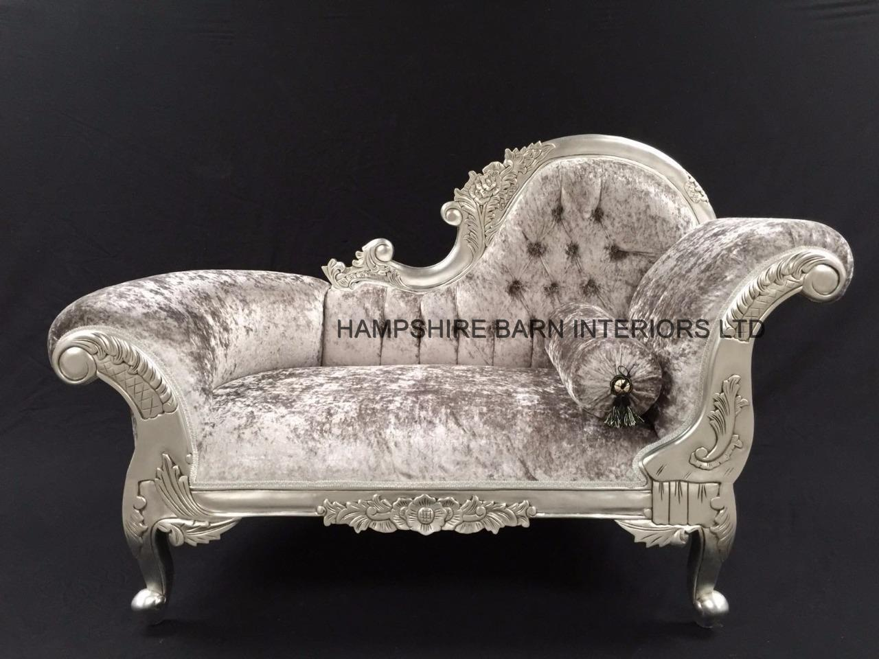 SMALL FRENCH CHAISE LONGUE SILVER LEAF MERCURY GREY CRYSTAL SOFA . : small chaise lounge - Sectionals, Sofas & Couches
