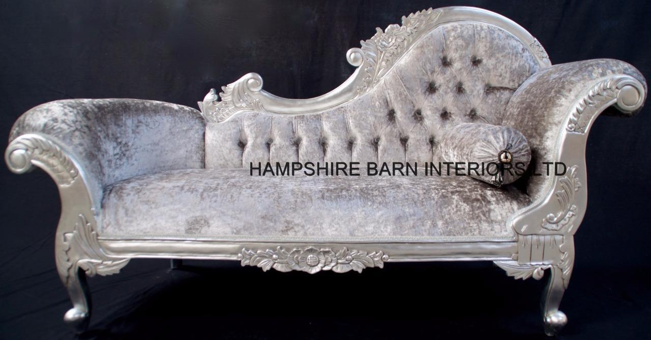 Medium french chaise longue silver leaf mercury grey for Black and silver chaise longue