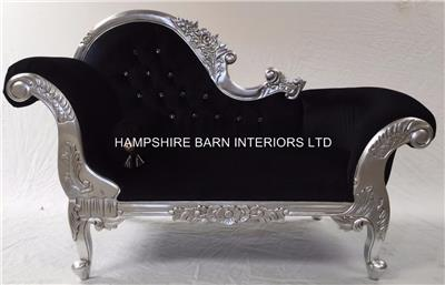 Small french chaise longue silver leaf black velvet for Black and silver chaise longue