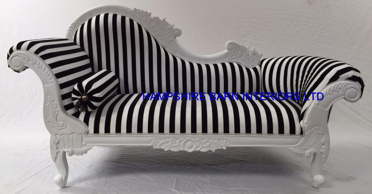 Medium french chaise longue sofa white w black white for Black and white chaise lounge