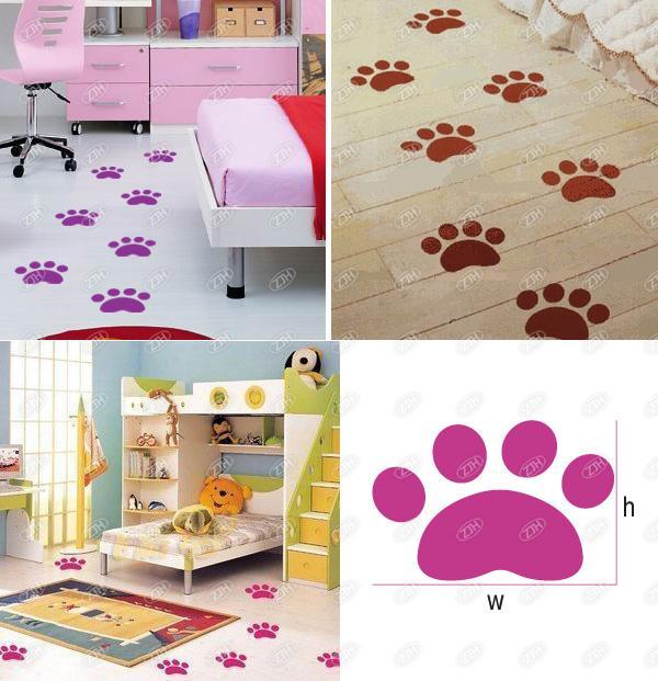 6X Cute Puppy Dog Paw Emblem Room Floor Vinyl Decal Sticker DIY Car