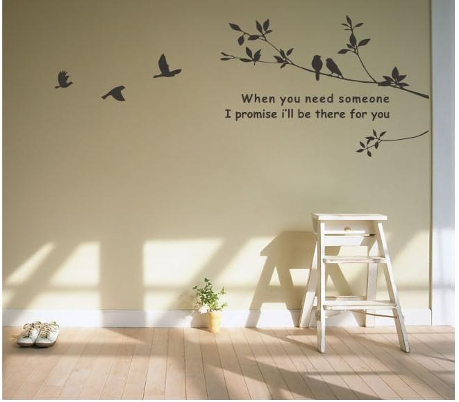 Tree And Bird Mural Art Wall Stickers Vinyl Decal Home Room Decor DIY NEW WHI