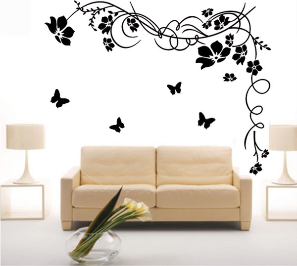 Large butterfly vine flower mural art wall stickers vinyl for Mural de flores y mariposas