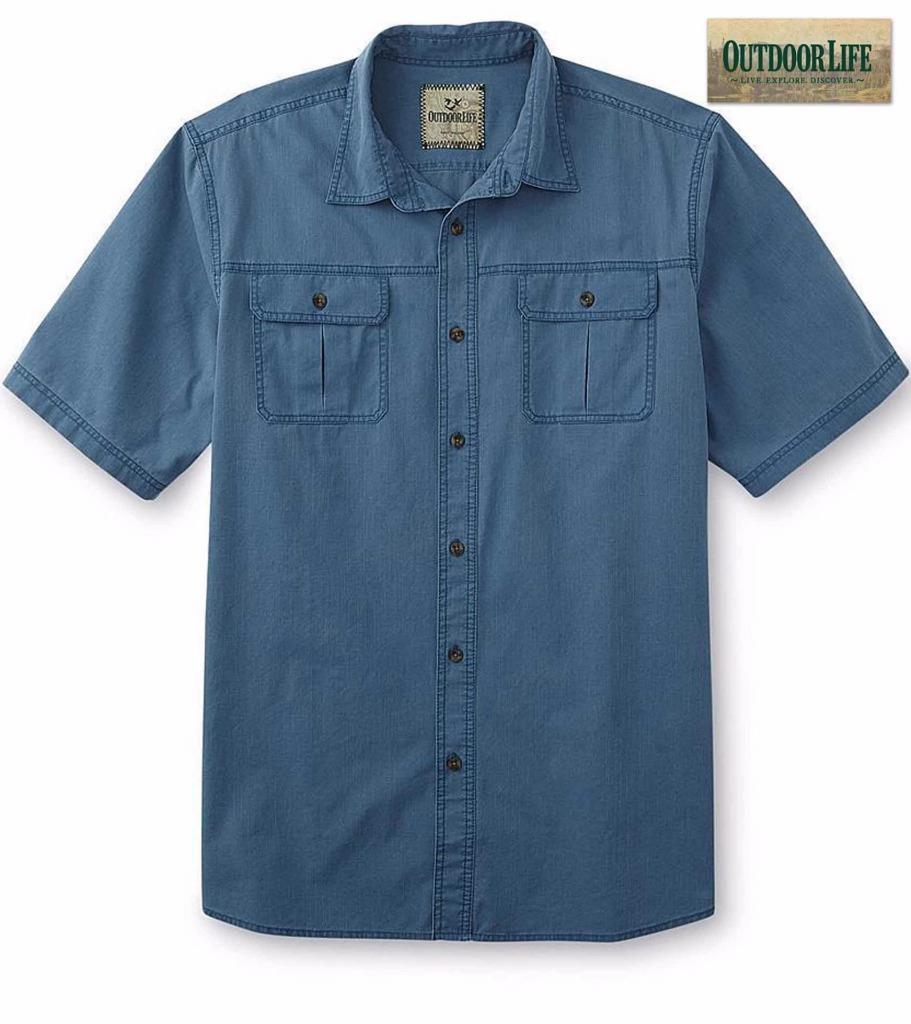 Nwt xxxlt outdoor life men 39 s button down short sleeve for Womens tall button down shirts