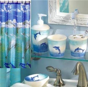 complete 6 pc set leaping dolphin bathroom with shower curtain tumbler ebay. Black Bedroom Furniture Sets. Home Design Ideas