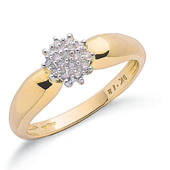 Elegant-0-13ct-Brilliant-Cut-Diamond-Cluster-Ring-9-Carat-Yellow-Gold-NEW