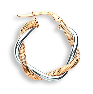 9ct-2-Colour-Gold-Polished-White-Gold-Yellow-Gold-Rope-Twisted-Hoop-Earrings