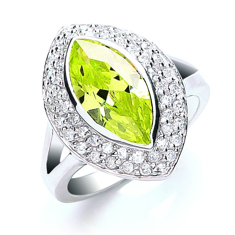 Rhodium-Plated-925-Silver-Lime-Colour-Marquise-Cut-Cubic-Zirconia-Ring-6-0g