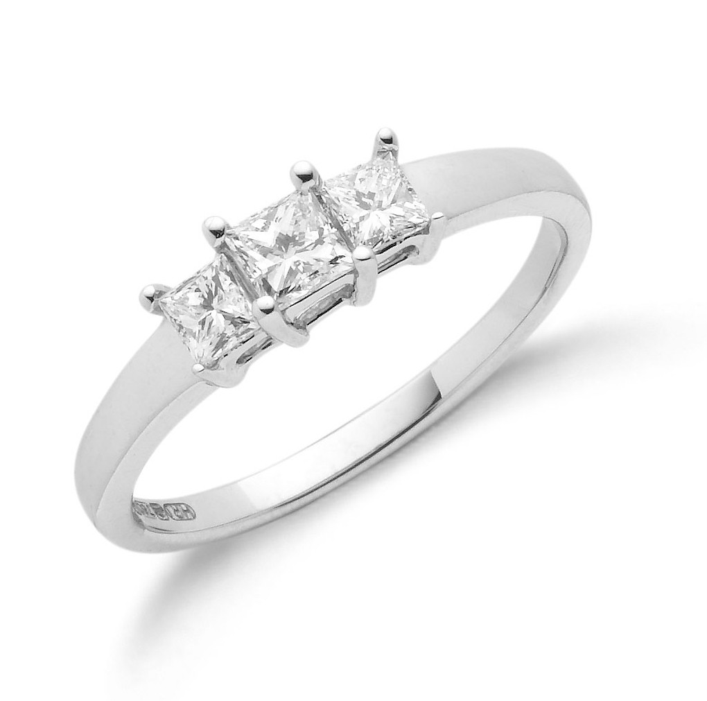 0-50ct-Princess-Cut-3-Stone-Trilogy-Diamond-Ring-H-Si-Clarity-18ct-White-Gold