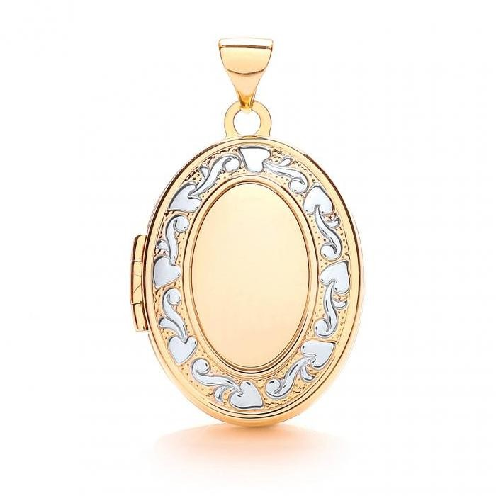 9ct Yellow & White Gold 4 Photo Family Oval Shaped Locket 20x15mm