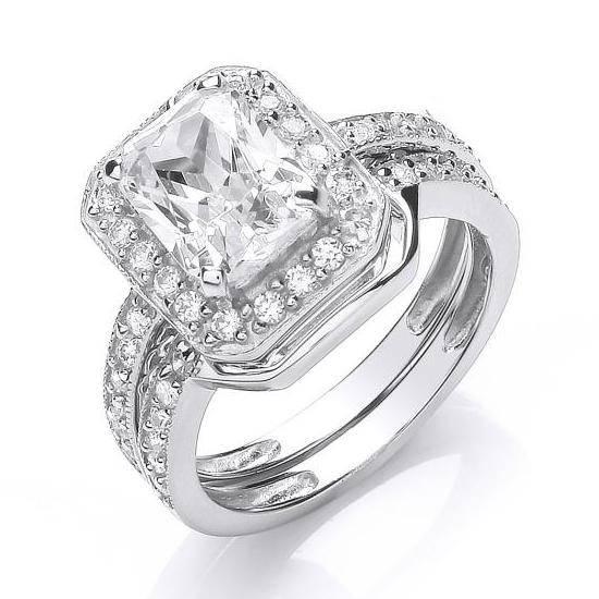 Rhodium Plated Silver Emerald Cut Cz Cluster Engagement Wedding Ring Bridal Set