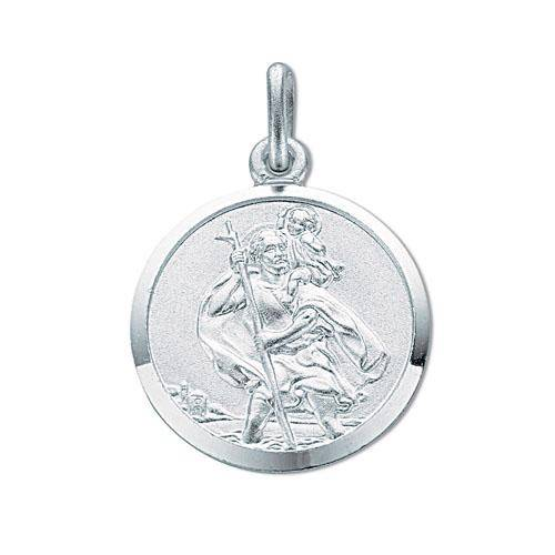 Solid Sterling Silver 15mm St Christopher Medallion Pendant 3.1g