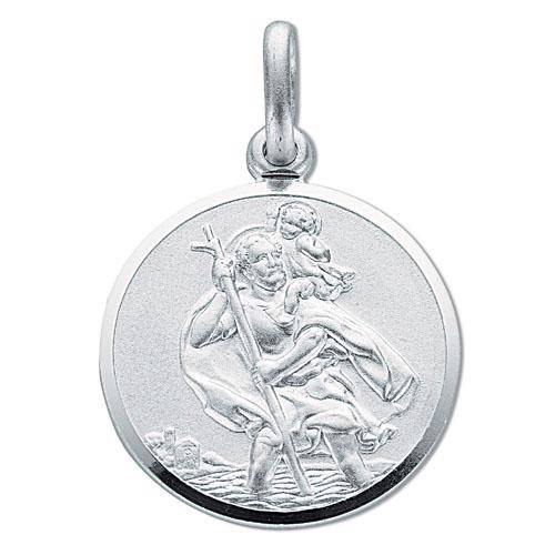 Solid Sterling Silver 20mm St Christopher Medallion Pendant 5.4g