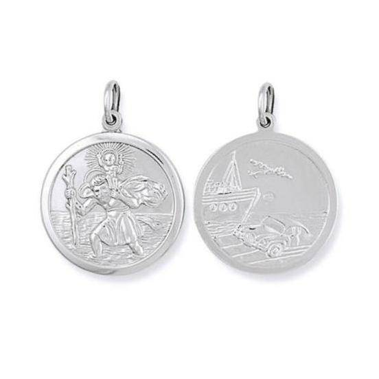 Solid Sterling Silver 15mm Double Sided St Christopher Medallion Pendant 3.2g