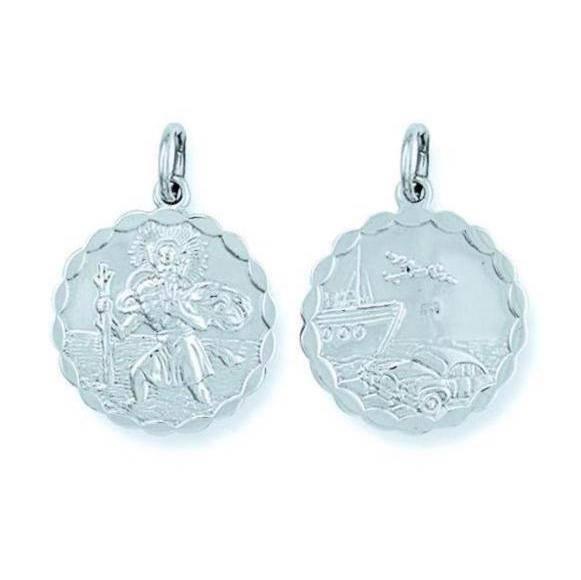 Sterling Silver 15mm Double Sided Scallloped St Christopher Medallion Pendant 3.4g