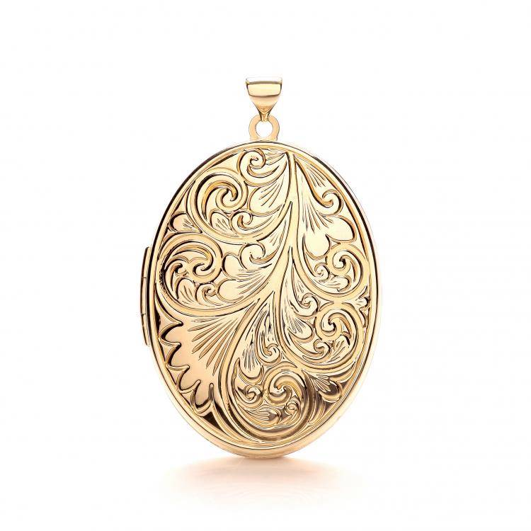 Large 9ct Yellow Gold 4 Photo Family Oval Shaped Embossed Locket 35x25mm