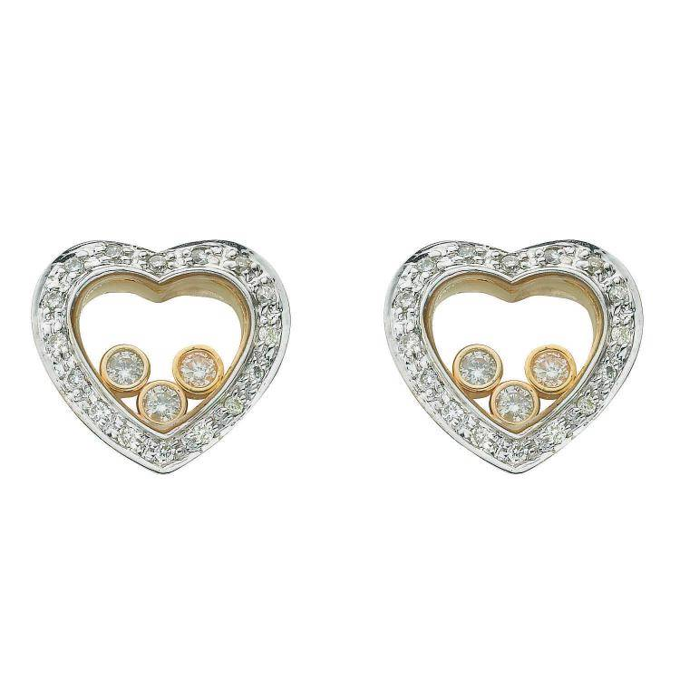 9ct Yellow Gold Floating 0.35ct Diamond Heart Earrings