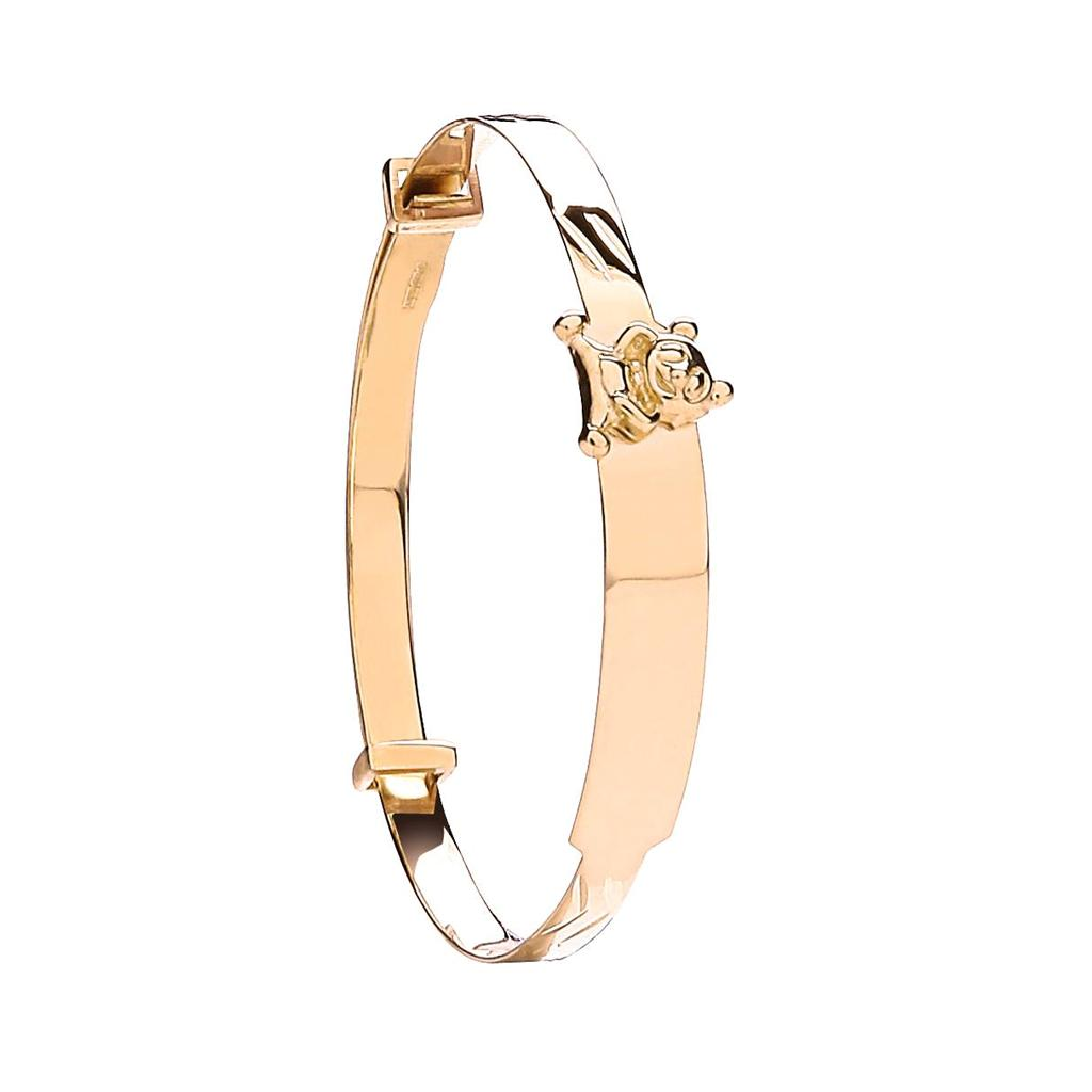 9ct Yellow Gold Expandable Identity Baby Bangle with Teddy 2.8g