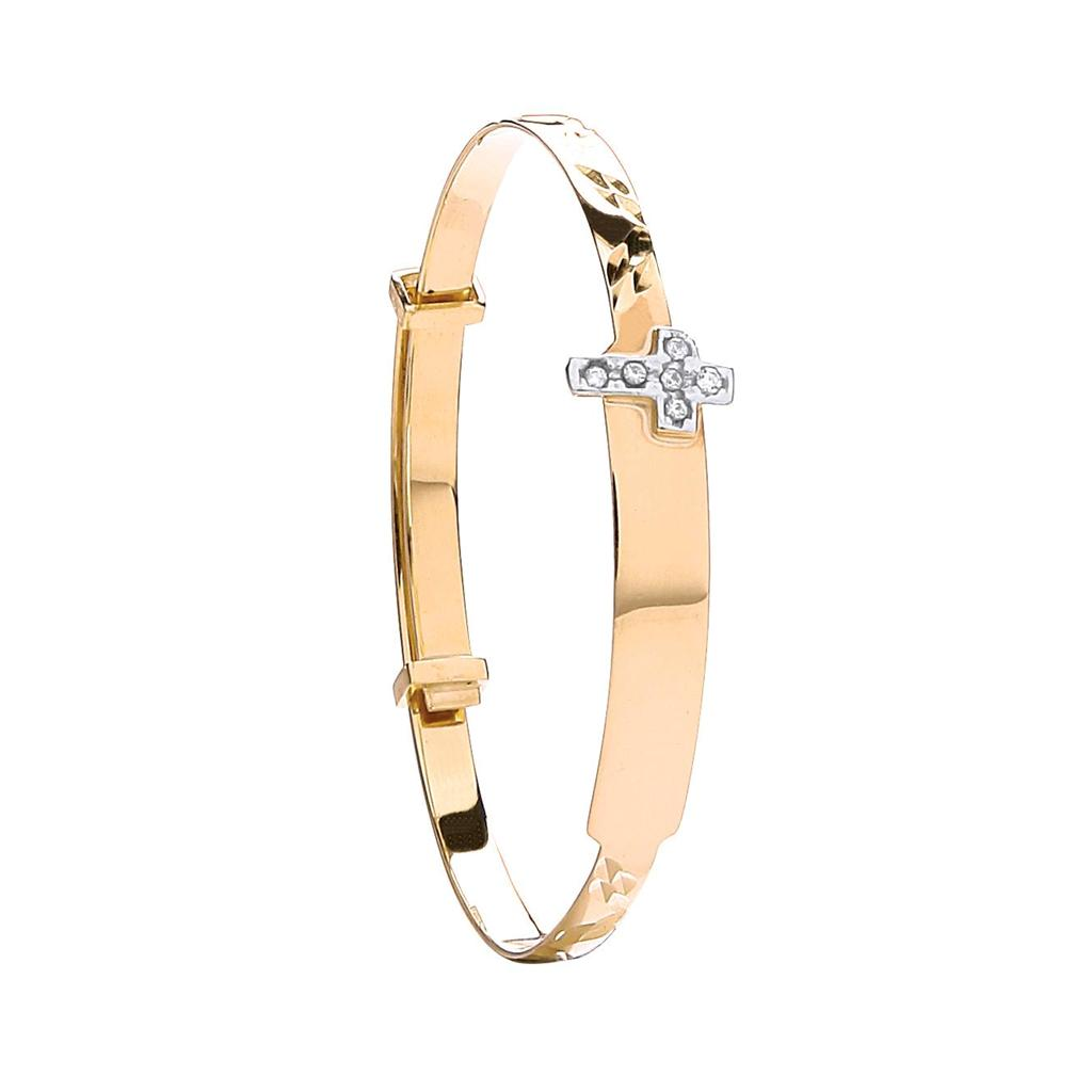 9ct Yellow Gold Expandable Baby Cz Cross Bangle 3.0g