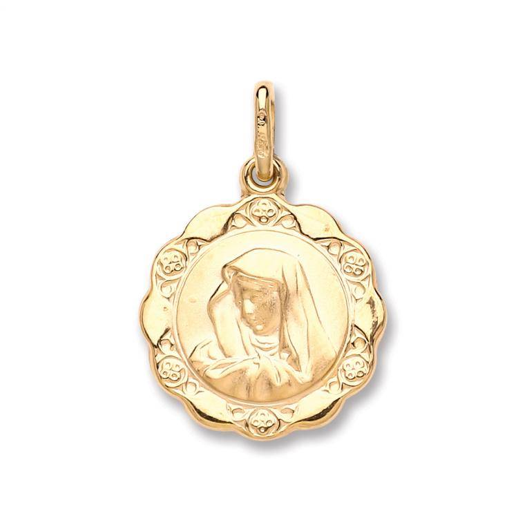 9ct Yellow Gold Hollow Madonna Charm Pendant 1.3g