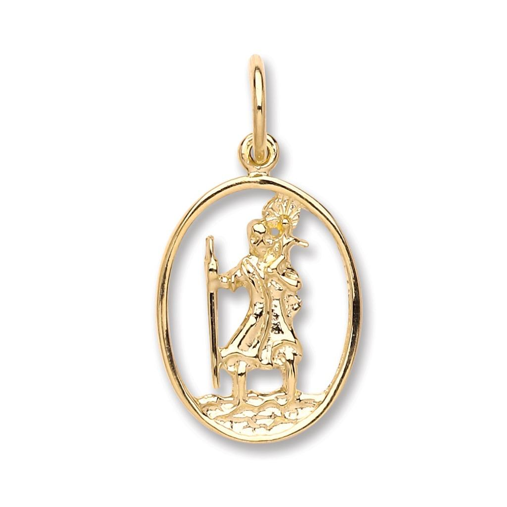 9ct Yellow Gold Oval Cut Out St Christopher Medallion Pendant Wt 1.3g