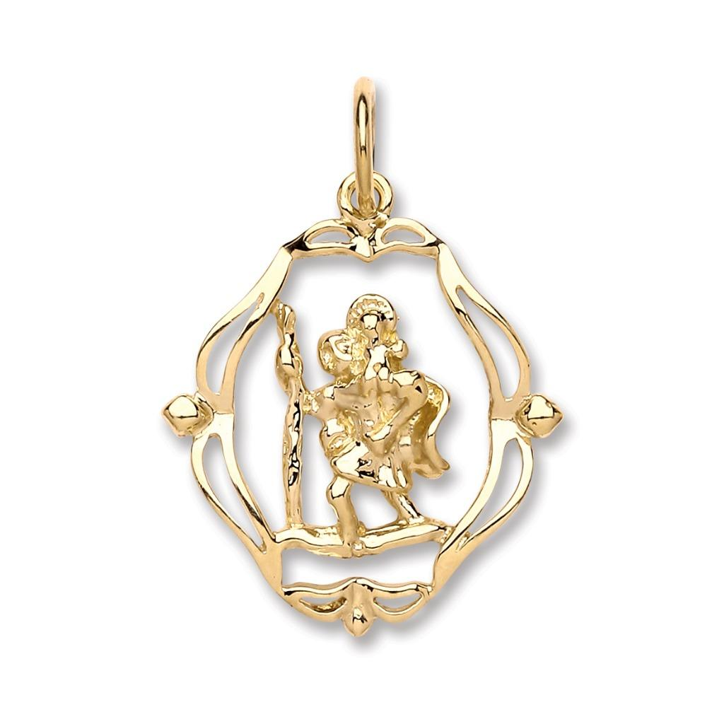 9ct Yellow Gold Oval Scroll Cut Out St Christopher Pendant Wt 2.5g
