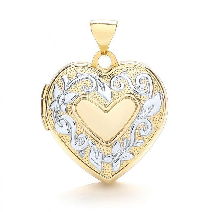 9ct Yellow & White Gold Ivy Trail 4 Photo Family Heart Shaped Locket 18x18mm