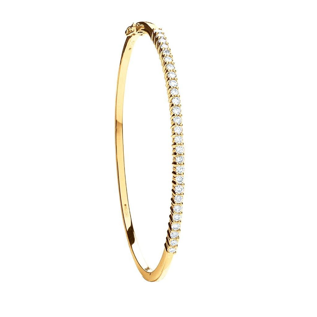 Ladies 9ct Yellow Gold 0.50ct Diamond Claw Set Bangle