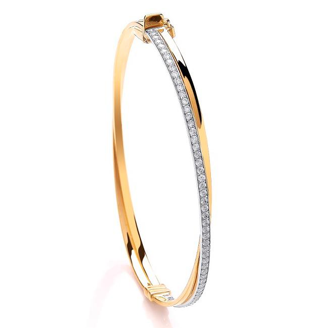 Ladies 9ct Yellow Gold Crossover Cz Bangle Hallmarked Weight 5.8g