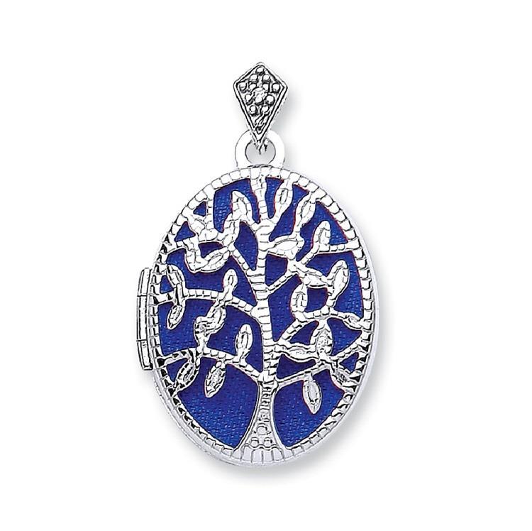 9ct White Gold 2 Photo Oval Shaped Tree of Life Locket With Blue Enamel
