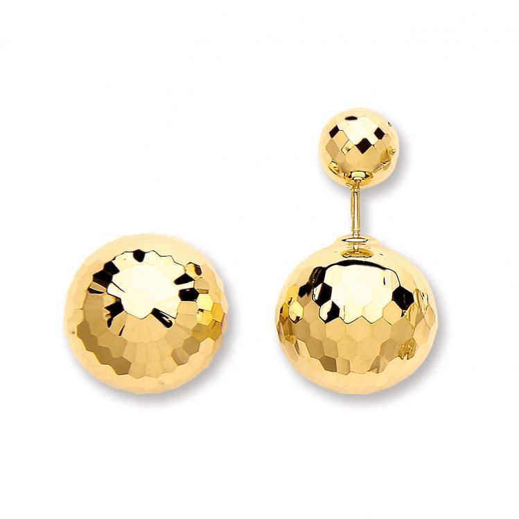 9ct Yellow Gold 15mm Diameter Faceted Disco Ball Screw Back Earrings 4.3g