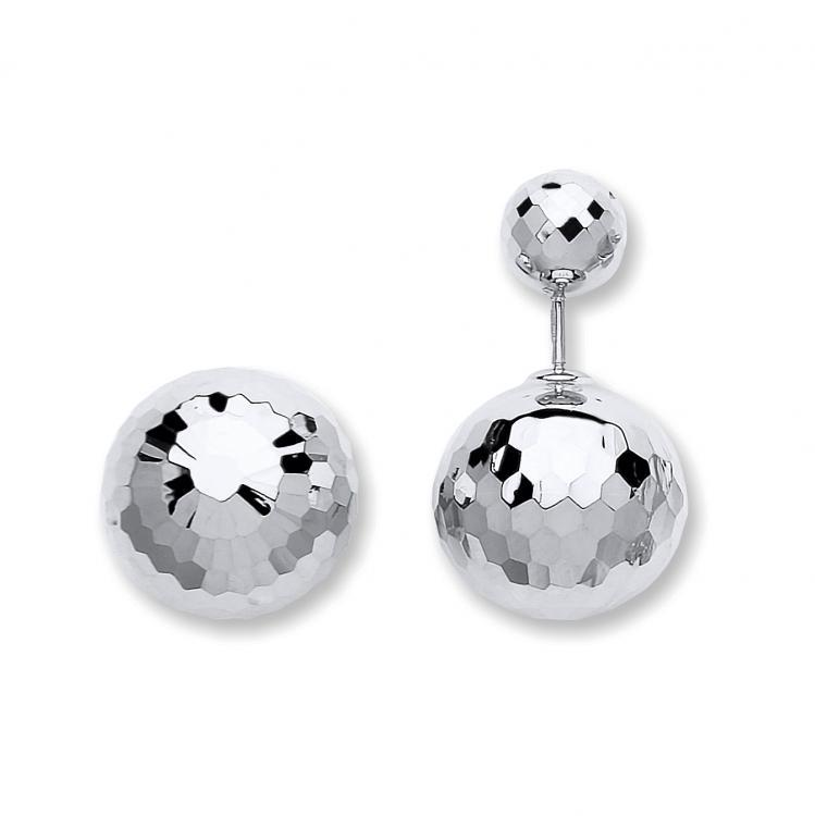 9ct White Gold 15mm Diameter Faceted Disco Ball Screw Back Earrings 4.3g