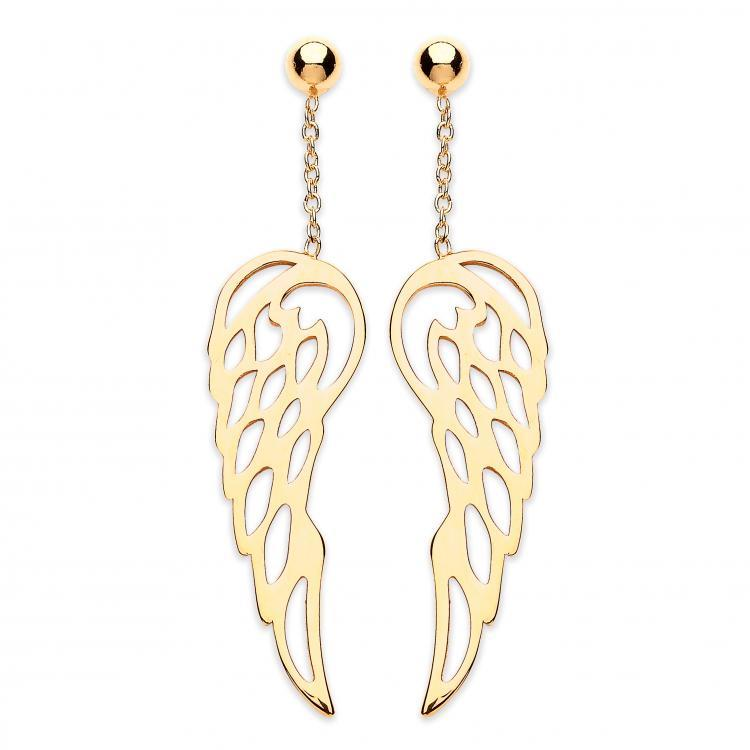 9ct Yellow Gold Angel Wings Design Drop Earrings 1.9g Hallmarked 35mm Long