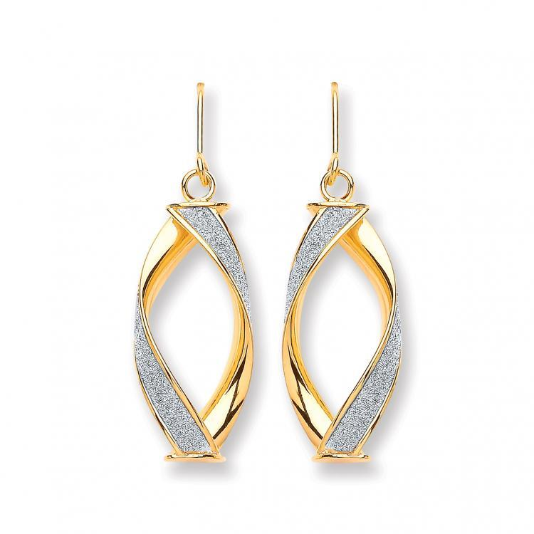 9ct Yellow Gold Twisted Moondust Drop Earrings 2.5g Size 35x10mm