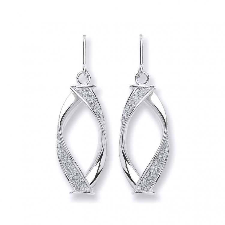9ct White Gold Twisted Moondust Drop Earrings 2.5g Size 35x10mm
