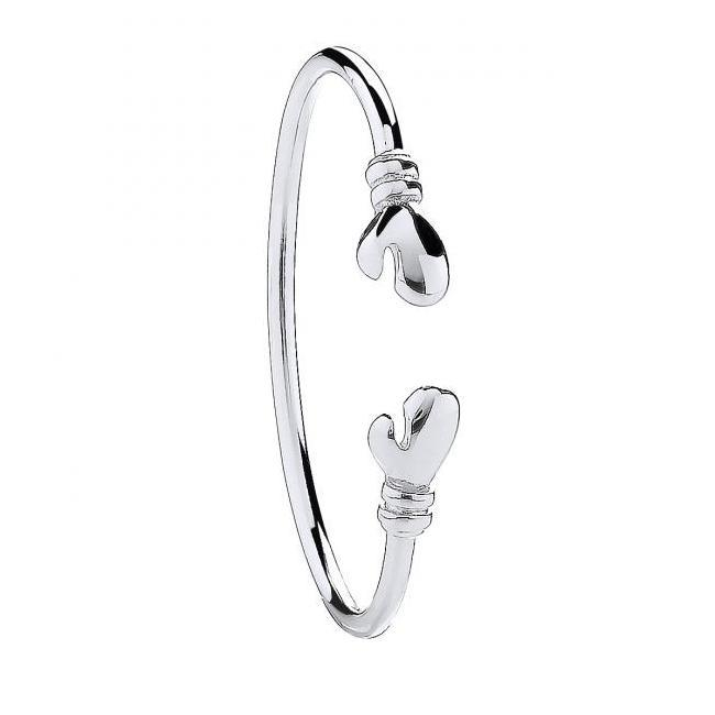 Sterling Silver 925 Baby Boxing Glove Torque Bangle Weight 6.7g