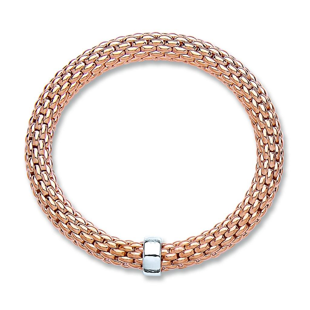 Rose Gold on Sterling Silver Mesh Popcorn Bangle Weight 15.8g