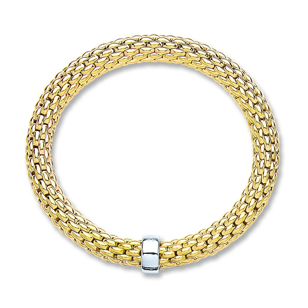 Yellow Gold on Sterling Silver Mesh Popcorn Bangle Weight 15.8g