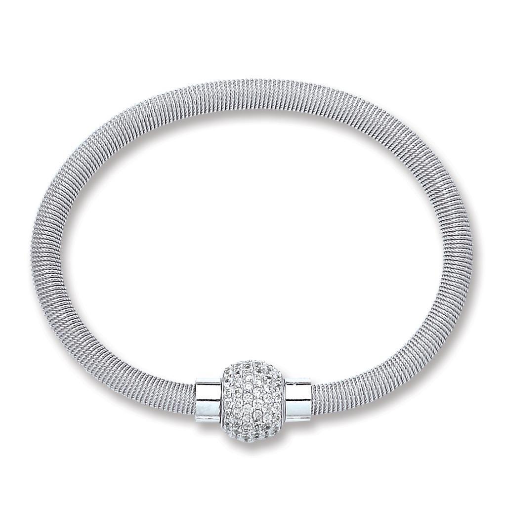 Sterling Silver Magnetic Crystal Cz Ball Coil Bracelet 15.5g