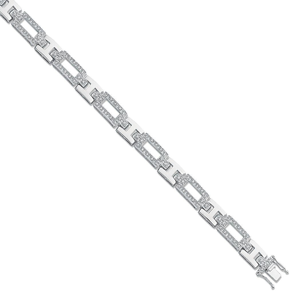 Art Deco Design Sterling Silver & Cz Pave Link Bracelet 13.8g