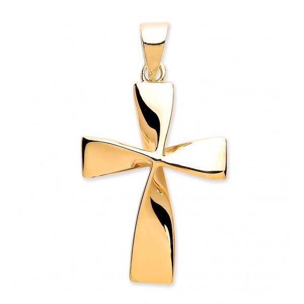 9ct Yellow Gold Modern Twisted Cross Crucifix Pendant Weight 1.1g Hallmarked