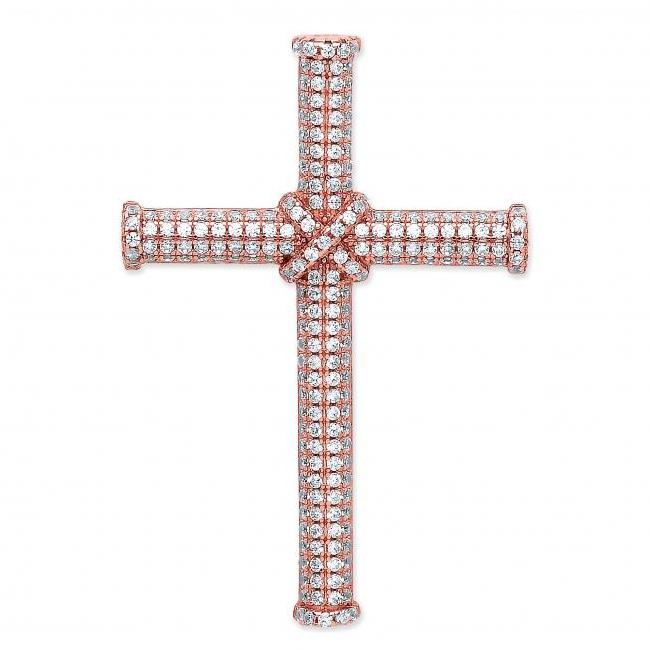 Rose Gold on 925 Sterling Silver Cz Micro Pave Set Crucifix Cross Pendant 30x25mm