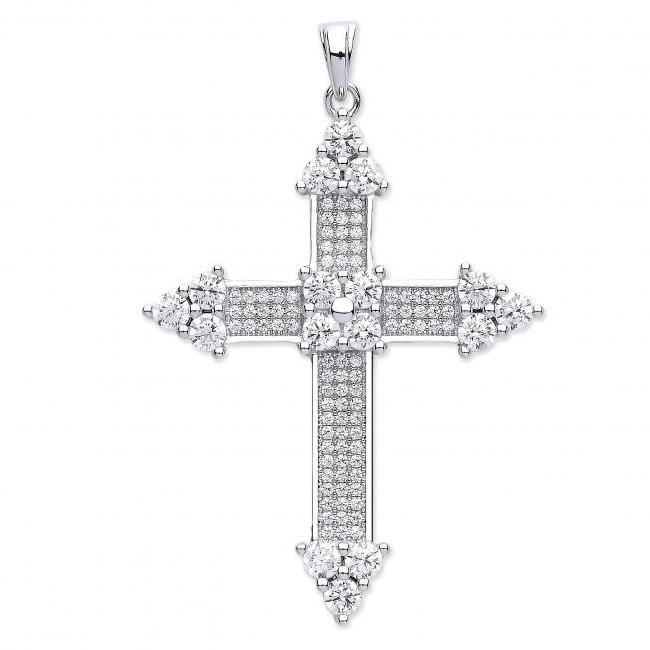 Sterling Silver & Micro Pave Cubic Zirconia Cluster Crucifix Cross Pendant 6.0g 30x25mm