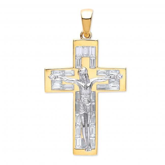 9ct 2 Colour Gold & Baguette Cz Cross Crucifix Pendant Weight 5.4g Hallmarked 30x25mm
