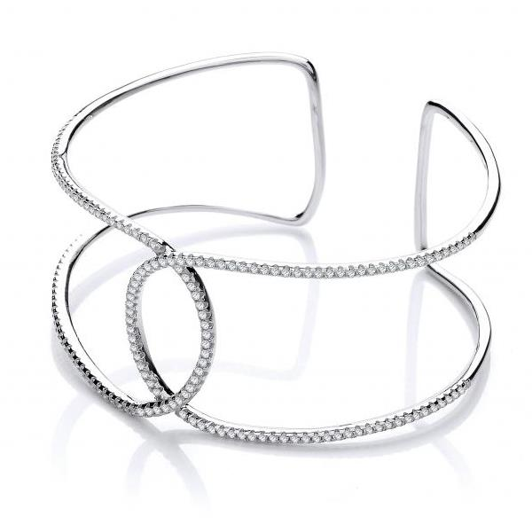 Sterling Silver Micro Pave Two Row Cz Interlocking Cuff Bangle Hallmarked