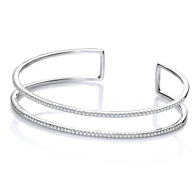 Sterling Silver & Micro Pave Two Row Cz Cuff Bangle Hallmarked