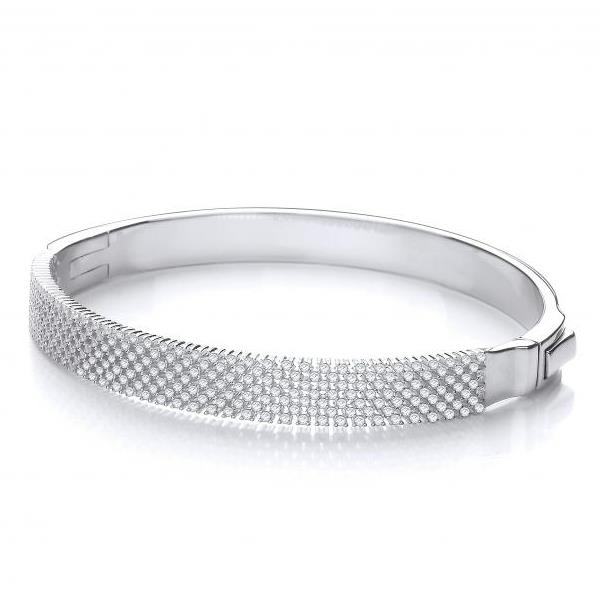 Sterling Silver & Micro Pave Multi Row Half Set Cz Bangle Hallmarked 925